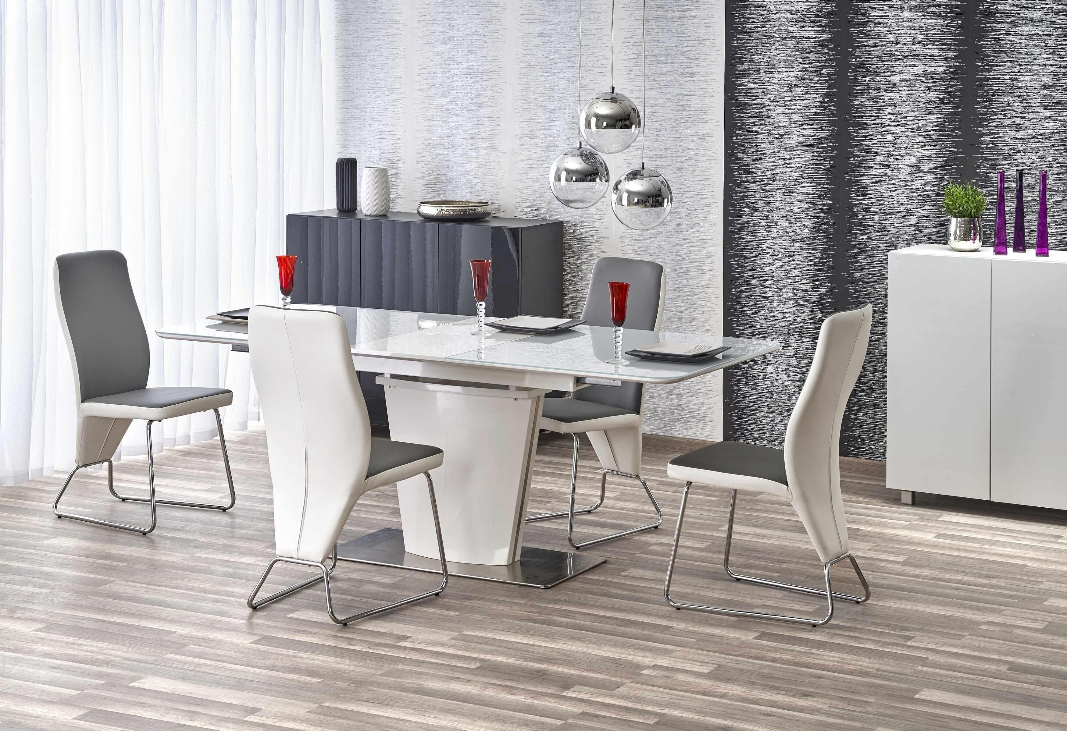 Set masa extensibila din sticla si MDF Platon White + 4 scaune K299 White / Grey, L160-200xl90xH76 cm la pret 4378 lei