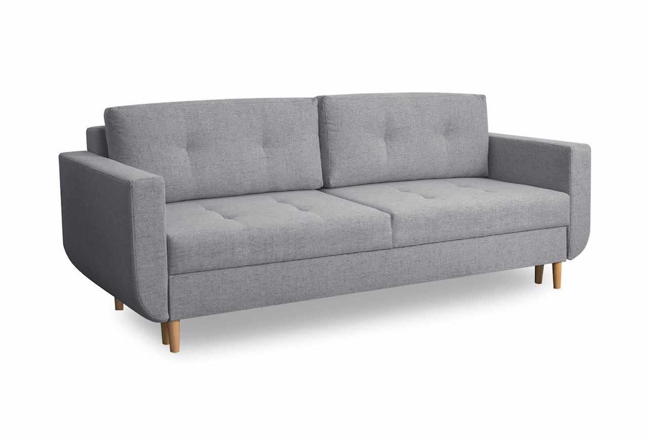Canapea extensibila cu lada de depozitare, tapitata cu stofa, 3 locuri Alva Gri deschis, l220xA96xH88 cm la pret 2992 lei
