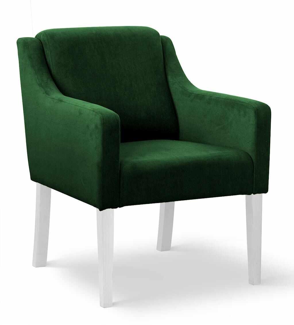 Fotoliu fix tapitat cu stofa, cu picioare din lemn Milo Verde / Alb, l68xA66xH85 cm la pret 910 lei