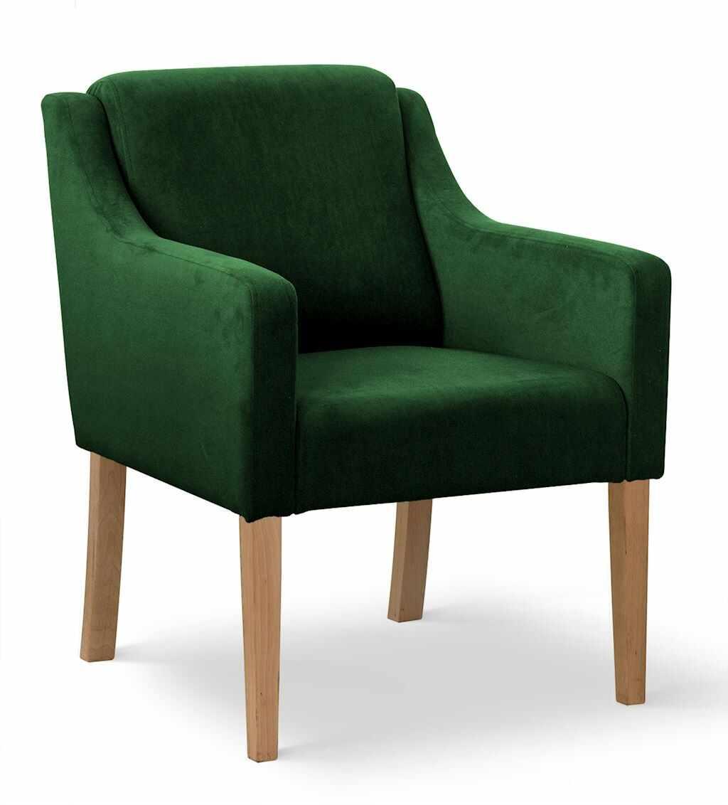 Fotoliu fix tapitat cu stofa, cu picioare din lemn Milo Verde / Stejar, l68xA66xH85 cm la pret 910 lei