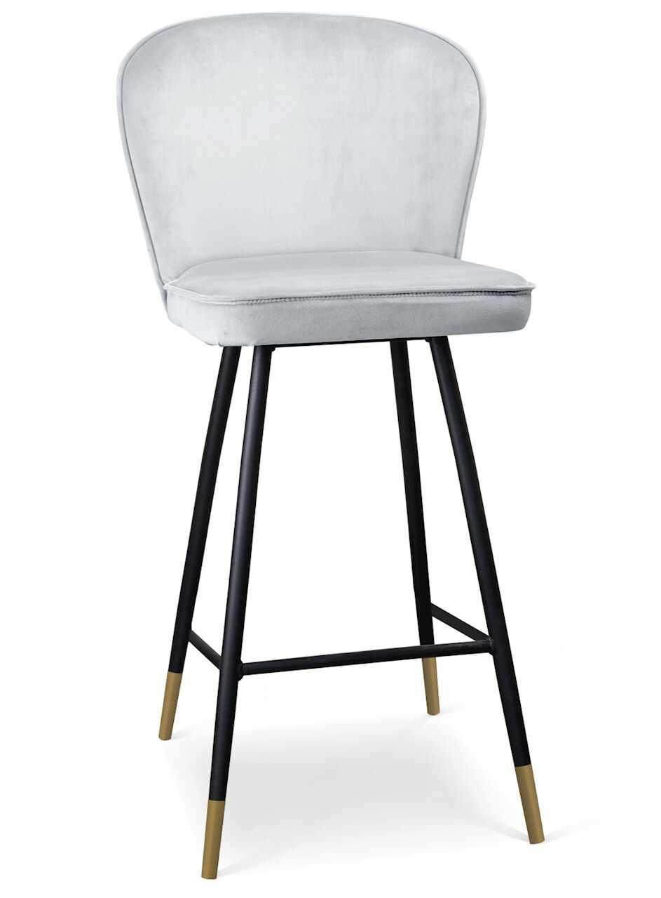 Scaun de bar tapitat cu stofa, cu picioare metalice Aine Argintiu / Negru / Auriu, l50xA53xH106 cm la pret 639 lei