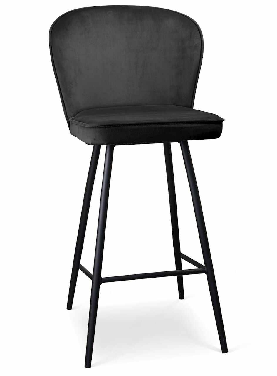 Scaun de bar tapitat cu stofa, cu picioare metalice Aine Negru, l50xA53xH106 cm la pret 687 lei
