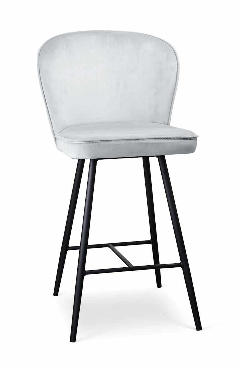 Scaun de bar tapitat cu stofa, cu picioare metalice Aine Small Argintiu / Negru, l50xA53xH96 cm la pret 611 lei