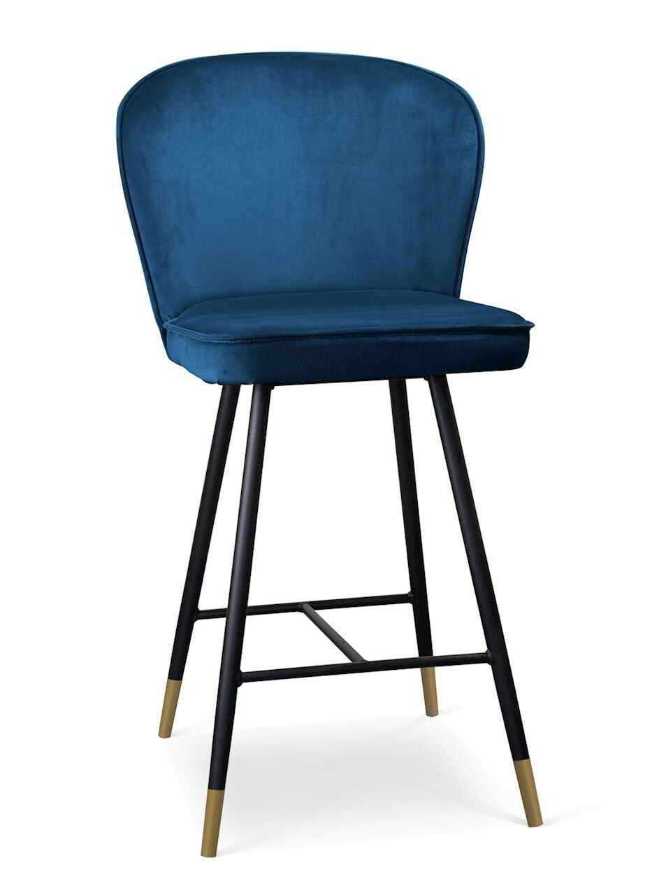 Scaun de bar tapitat cu stofa, cu picioare metalice Aine Small Bleumarin / Negru / Auriu, l50xA53xH96 cm la pret 639 lei