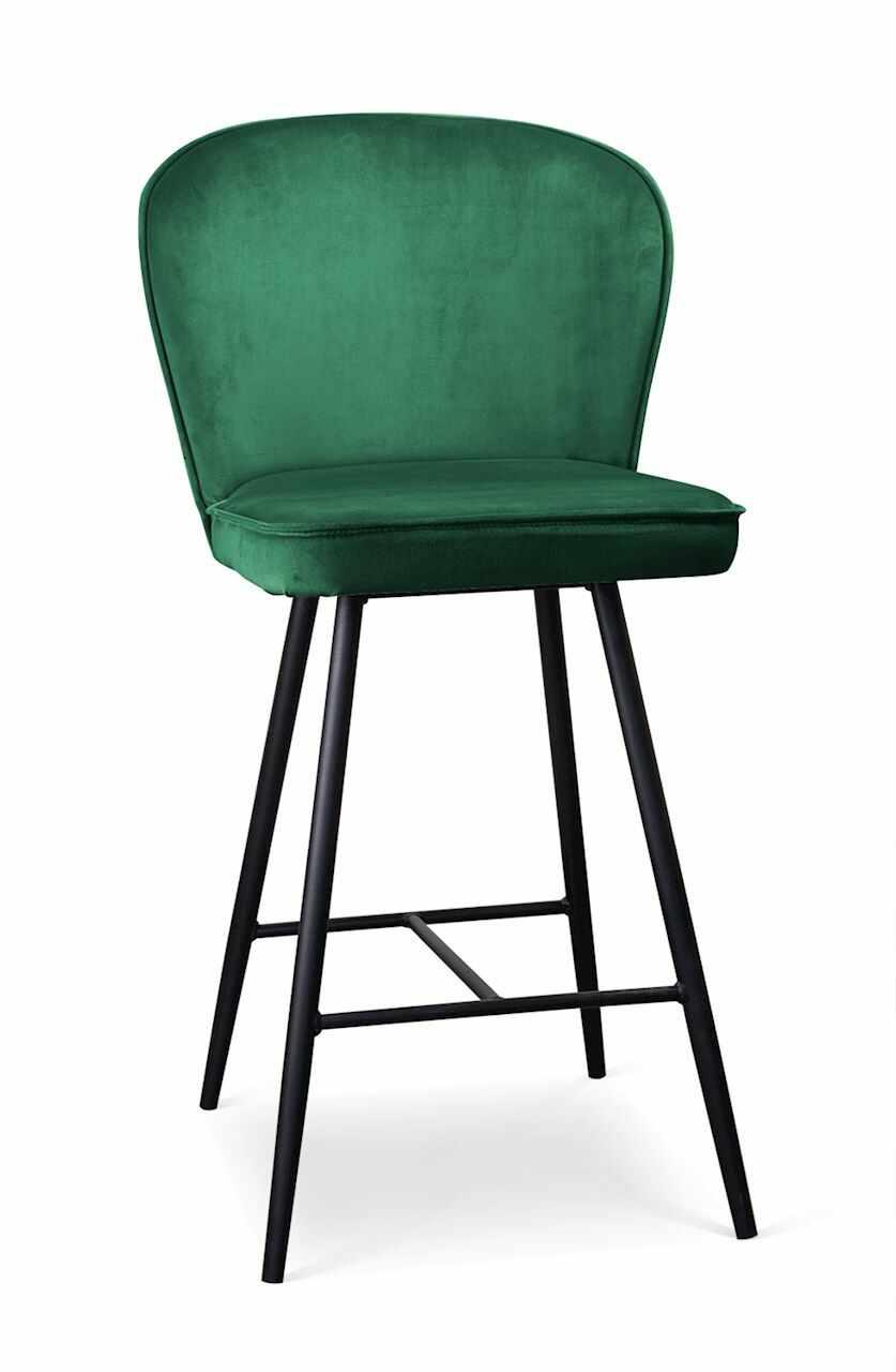 Scaun de bar tapitat cu stofa, cu picioare metalice Aine Verde / Negru, l50xA53xH106 cm la pret 611 lei