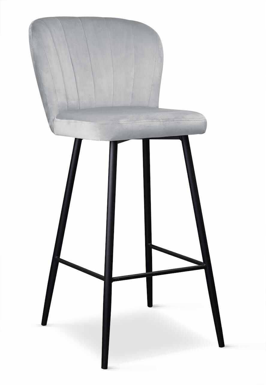 Scaun de bar tapitat cu stofa, cu picioare metalice Shelly Argintiu / Negru, l50xA53xH106 cm la pret 611 lei