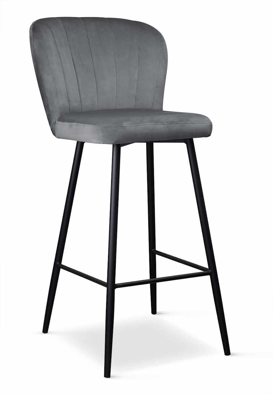 Scaun de bar tapitat cu stofa, cu picioare metalice Shelly Gri / Negru, l50xA53xH106 cm la pret 611 lei
