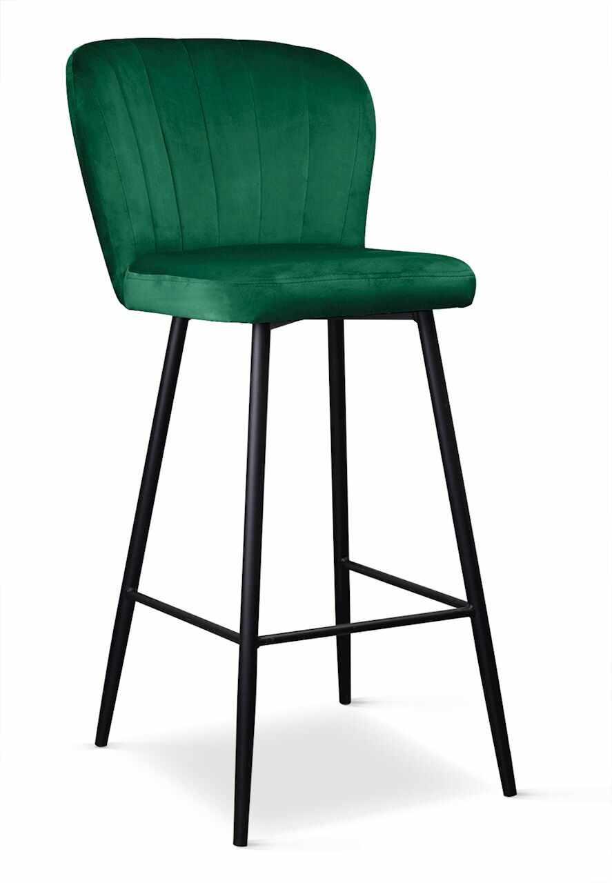 Scaun de bar tapitat cu stofa, cu picioare metalice Shelly Verde / Negru, l50xA53xH106 cm la pret 611 lei