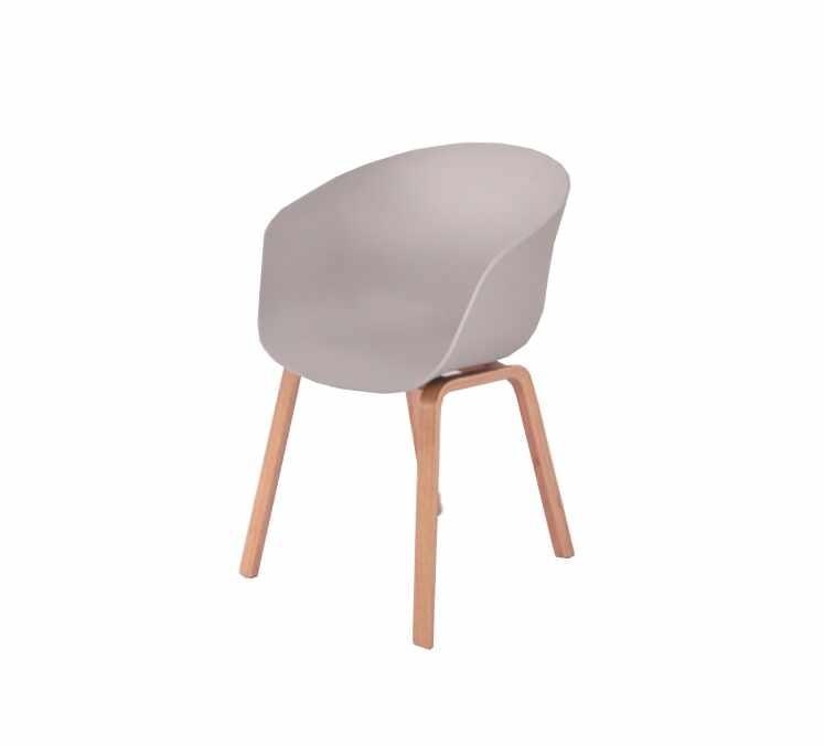 Scaun din plastic cu picioare din lemn Iris Grey, l55xA56xH80 cm la pret 201 lei