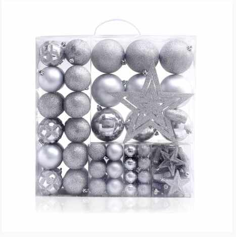 Set 100 globuri si stelute pentru brad, din plastic Star Silver la pret 171 lei