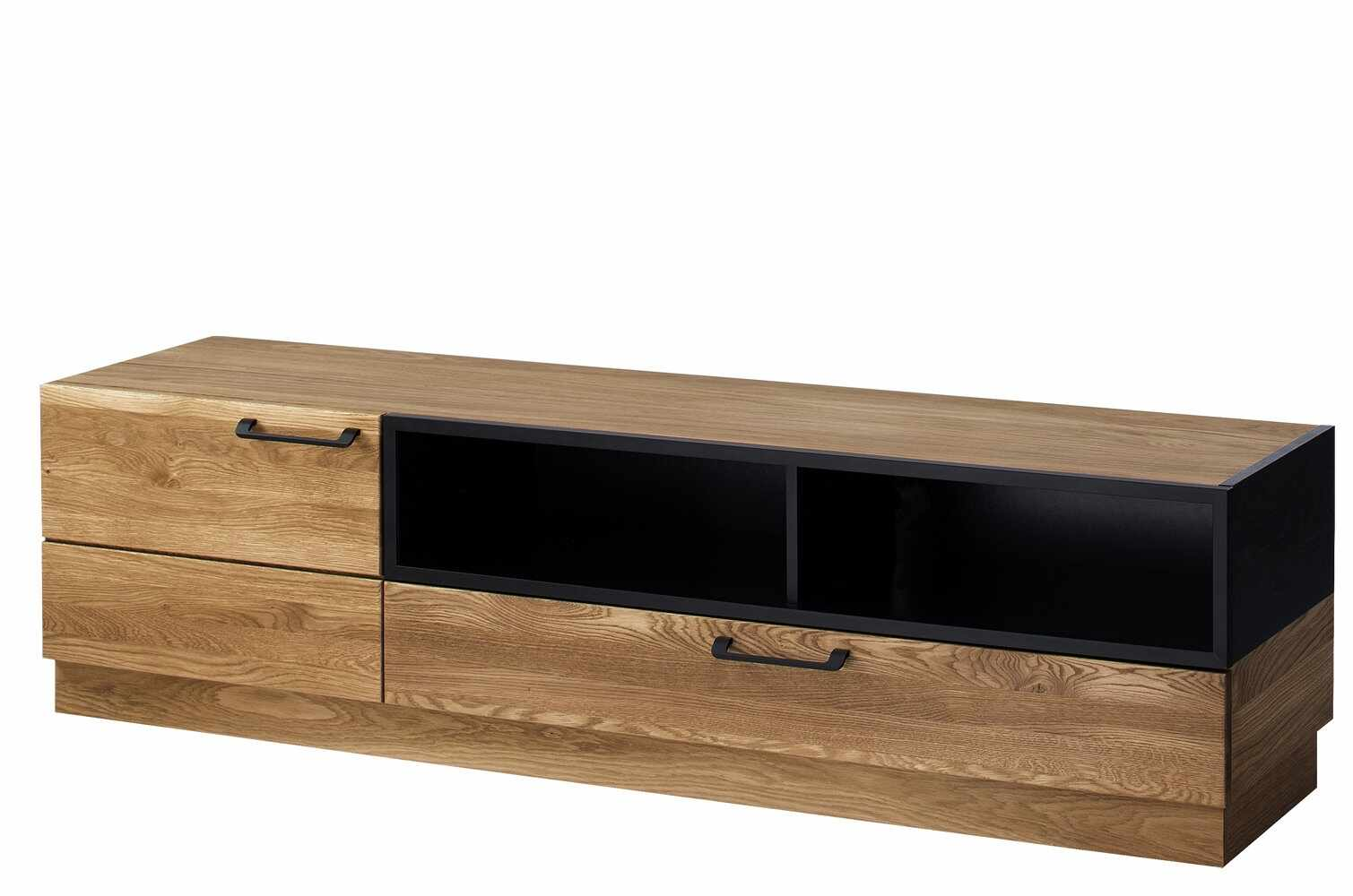 Comoda TV din lemn si furnir, cu 1 sertar si 1 usa Large Mosaic 25 Stejar / Negru, l170xA42xH46 cm la pret 2131 lei
