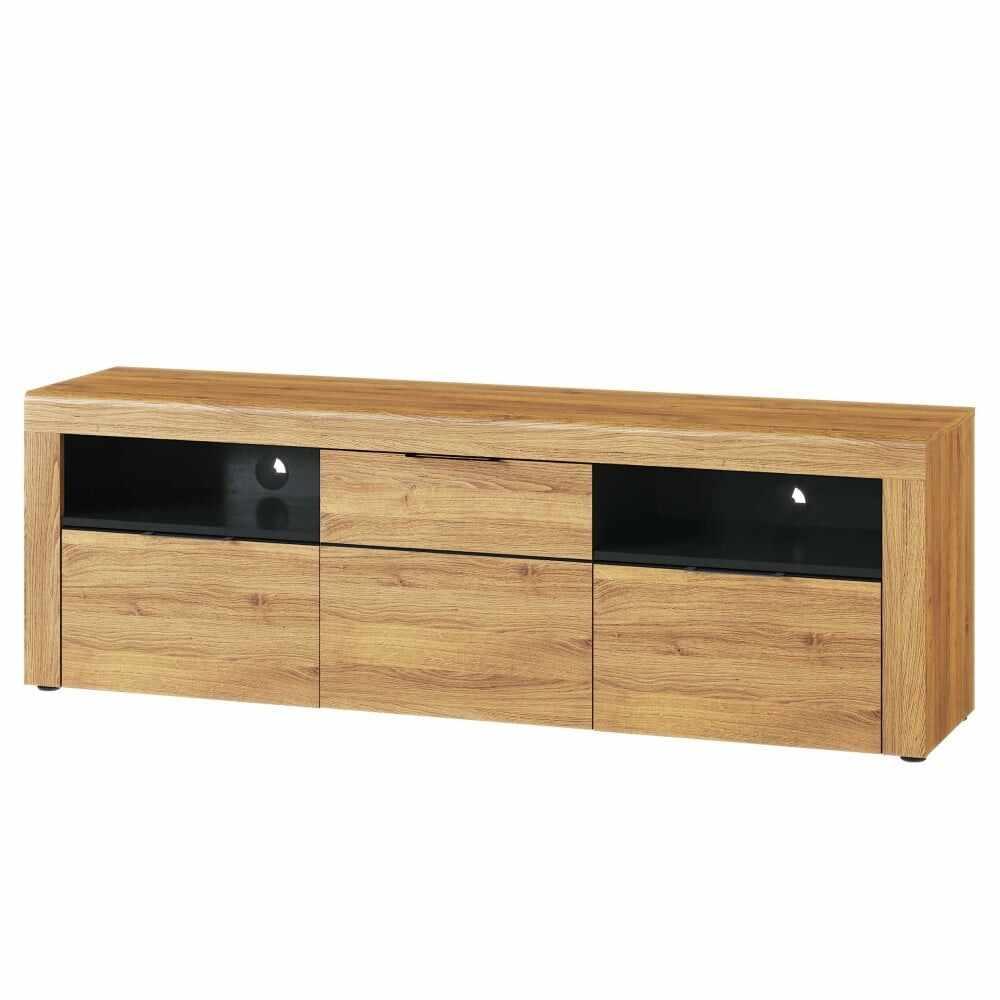 Comoda TV din pal cu 2 sertare si 1 usa Large Kama 25 Stejar / Negru, l171xA40xH56 cm la pret 1107 lei