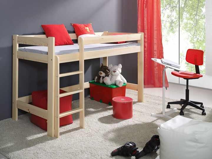 Pat etajat din lemn de pin, cu spatiu de joaca pentru copii Laura, 200 x 90 cm la pret 1350 lei