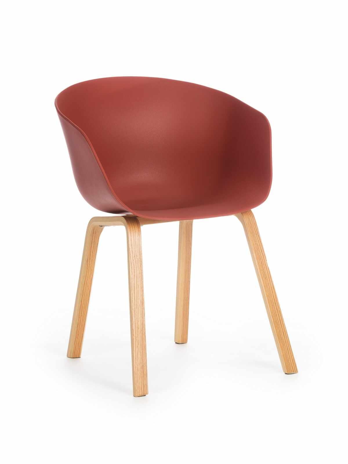 Scaun din plastic cu picioare din lemn Iris Caramiziu, l55xA56xH80 cm la pret 201 lei