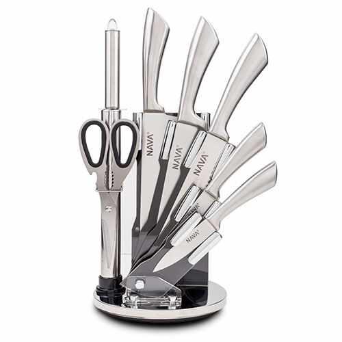 Set 5 cutite cu suport si accesorii Silver la pret 269 lei