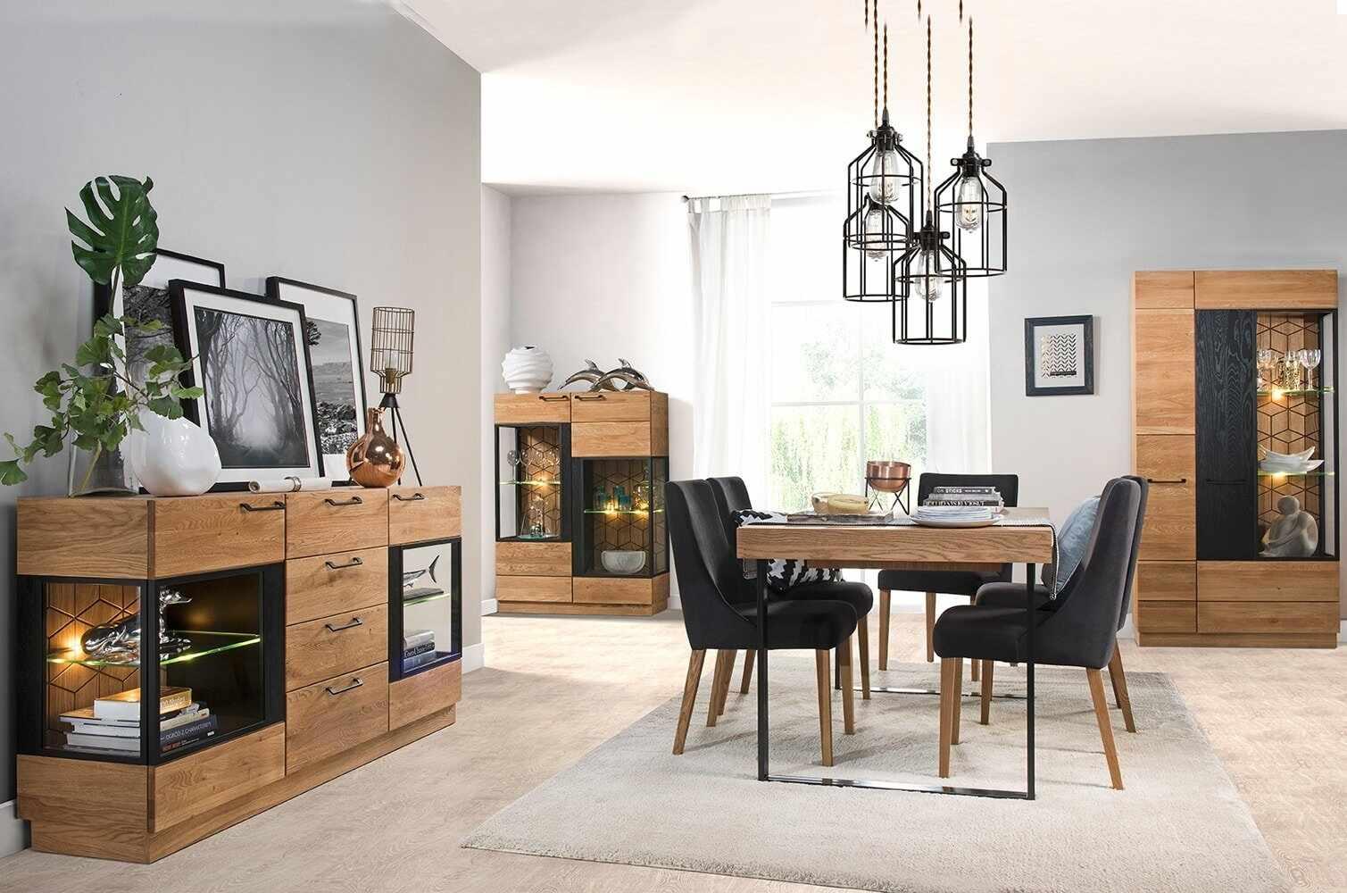 Set de mobila dining din lemn si furnir, 4 piese Mosaic Stejar / Negru la pret 14359 lei