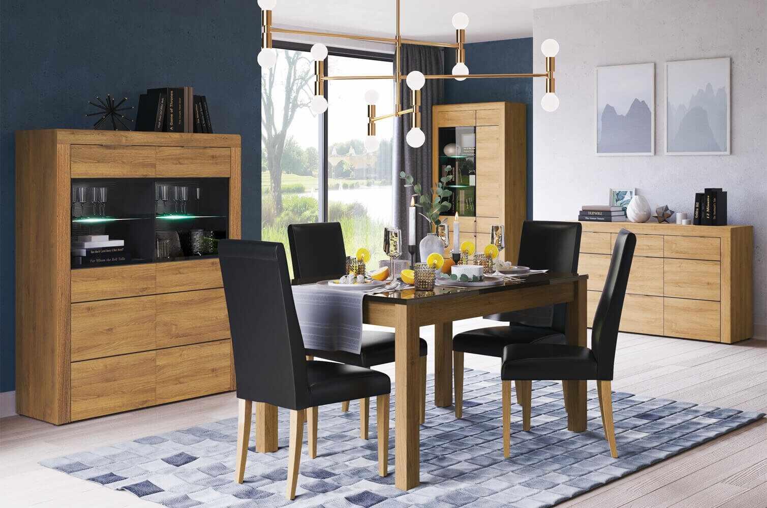 Set de mobila dining din pal, 4 piese Kama Stejar / Negru la pret 5558 lei