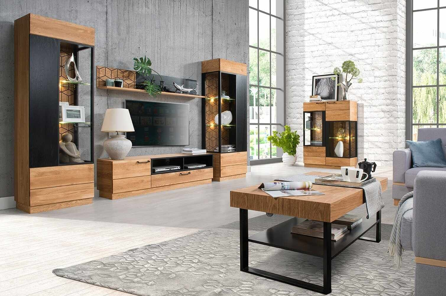 Set de mobila living din lemn si furnir, 6 piese Mosaic Stejar / Negru la pret 12861 lei