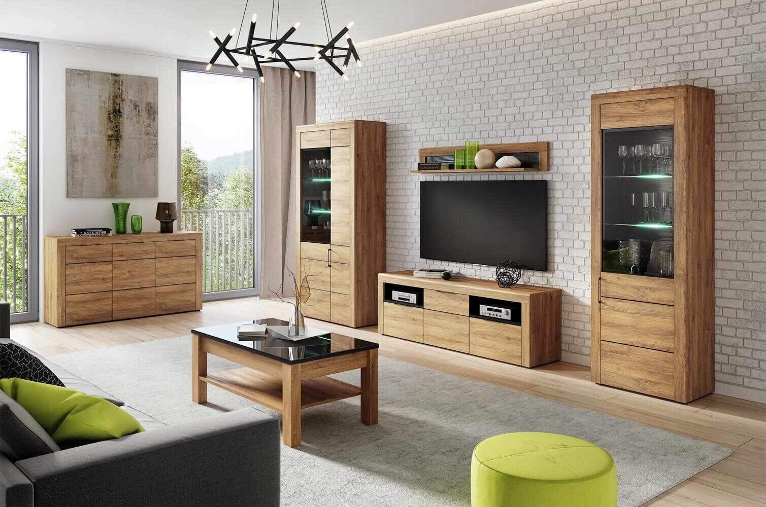 Set de mobila living din pal, 5 piese Kama Stejar / Negru la pret 5790 lei