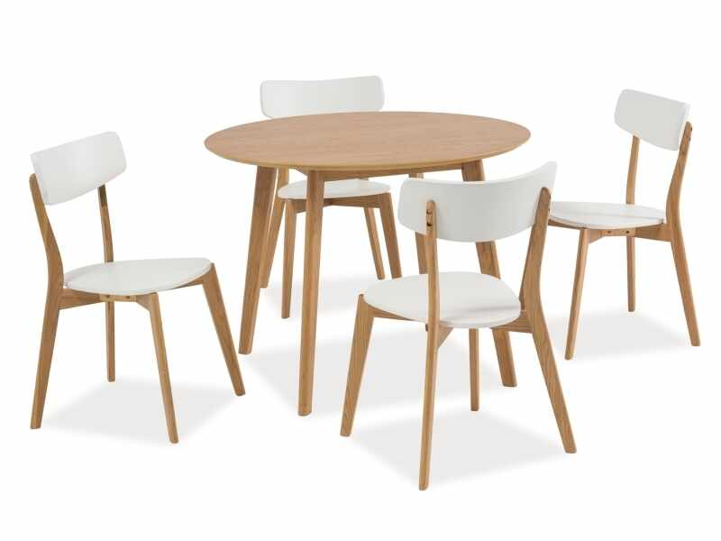 Set masa din MDF, furnir si lemn Mosso II Stejar + 4 scaune din lemn si MDF Mosso II Alb / Stejar, Ø100xH75 cm la pret 1784 lei