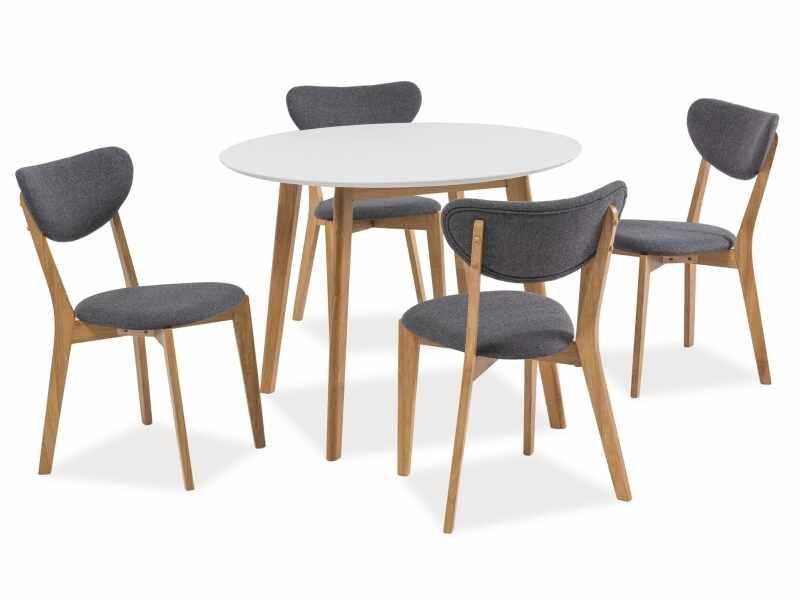 Set masa din MDF si lemn Mosso II Alb / Stejar + 4 scaune tapitate cu stofa Andre Gri / Stejar, Ø100xH75 cm la pret 2066 lei
