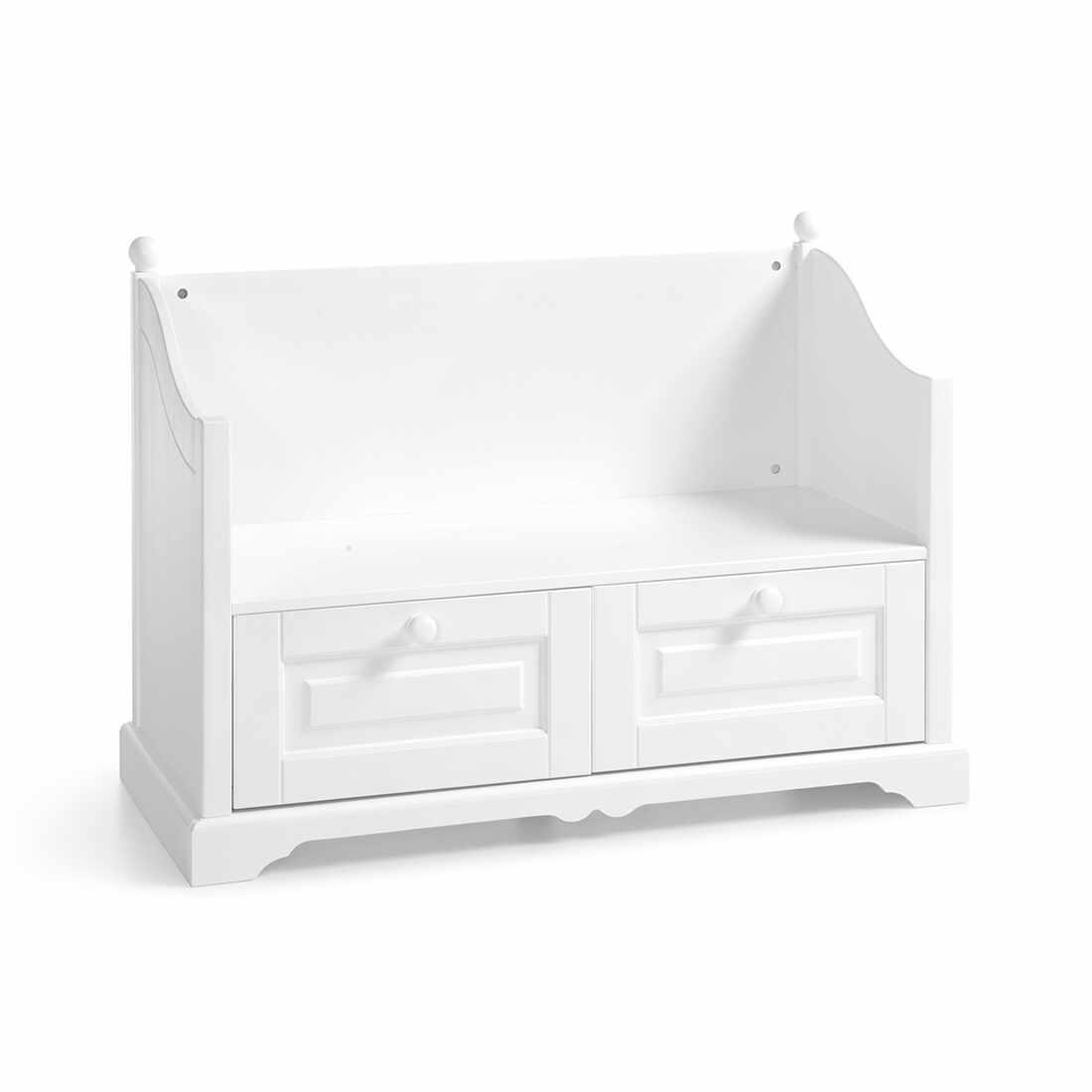 Banca din lemn de pin si pal, cu 2 sertare, pentru copii si tineret Pallas Junior Alb, l108xA48xH80 cm la pret 1434 lei