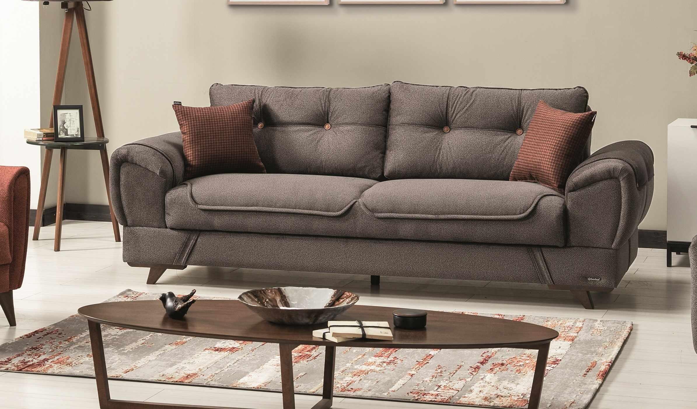 Canapea extensibila cu lada de depozitare, tapitata cu stofa si piele ecologica, 3 locuri Marla Gri K1, l254xA96xH85 cm la pret 2688 lei