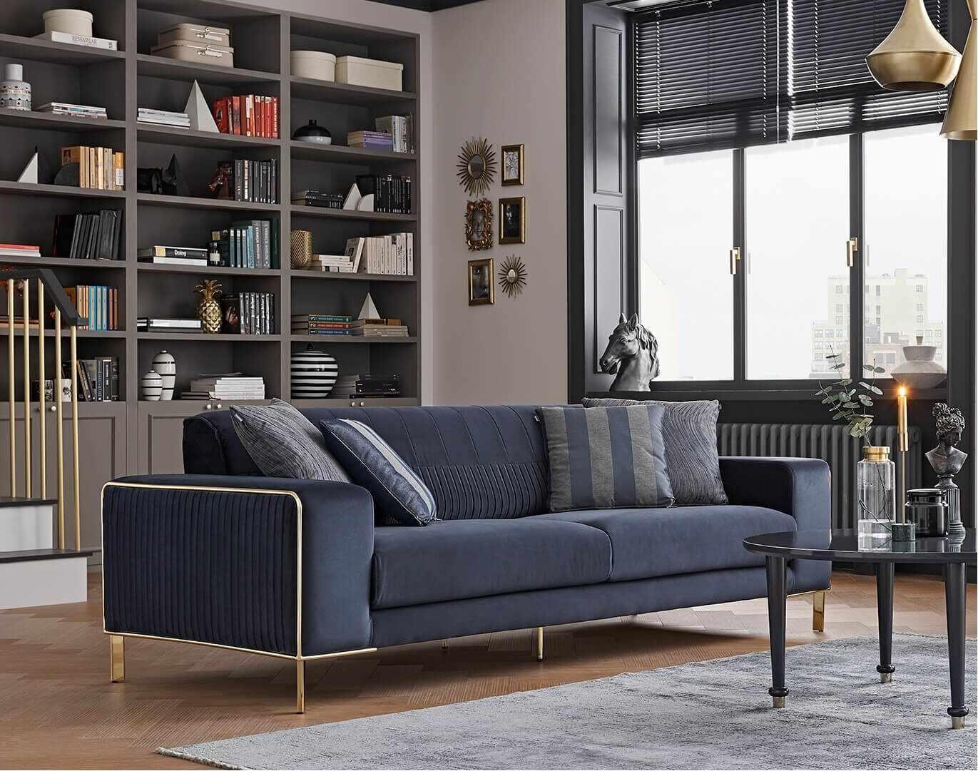 Canapea tapitata cu stofa, 3 locuri, cu functie sleep pentru 1 persoana Adel Bleumarin, l230xA97xH80 cm la pret 4951 lei