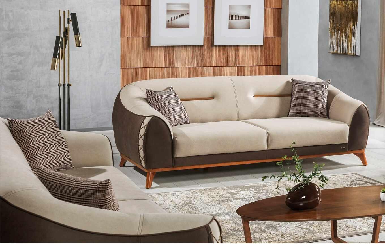 Canapea tapitata cu stofa, 3 locuri, cu functie sleep pentru 1 persoana Berlin Crem / Maro K1, l242xA106xH85 cm la pret 4010 lei