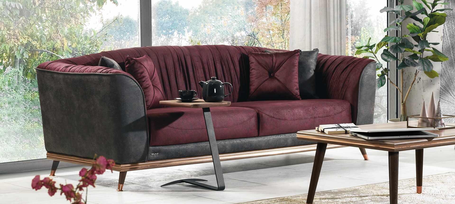 Canapea tapitata cu stofa, 3 locuri, cu functie sleep pentru 1 persoana Toscana Burgundy K1, l240xA98xH85 cm la pret 3865 lei