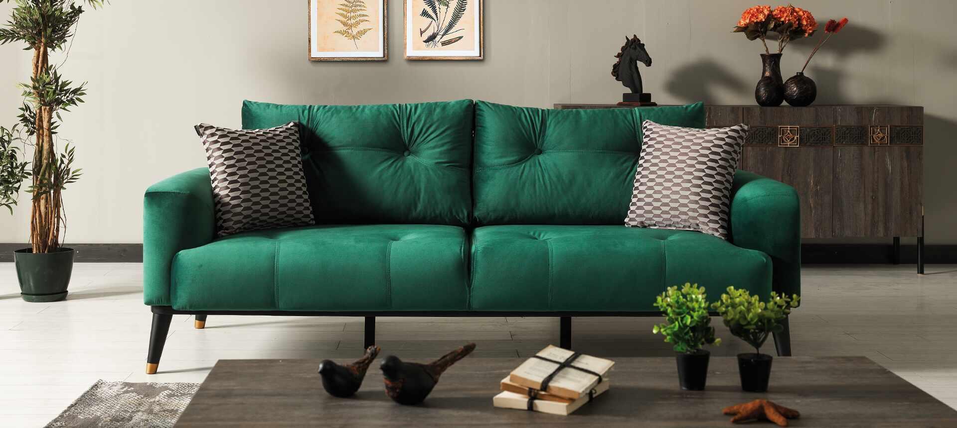 Canapea tapitata cu stofa si piele ecologica, 3 locuri, cu functie sleep pentru 1 persoana Wella Verde K1, l217xA98xH76 cm la pret 3305 lei