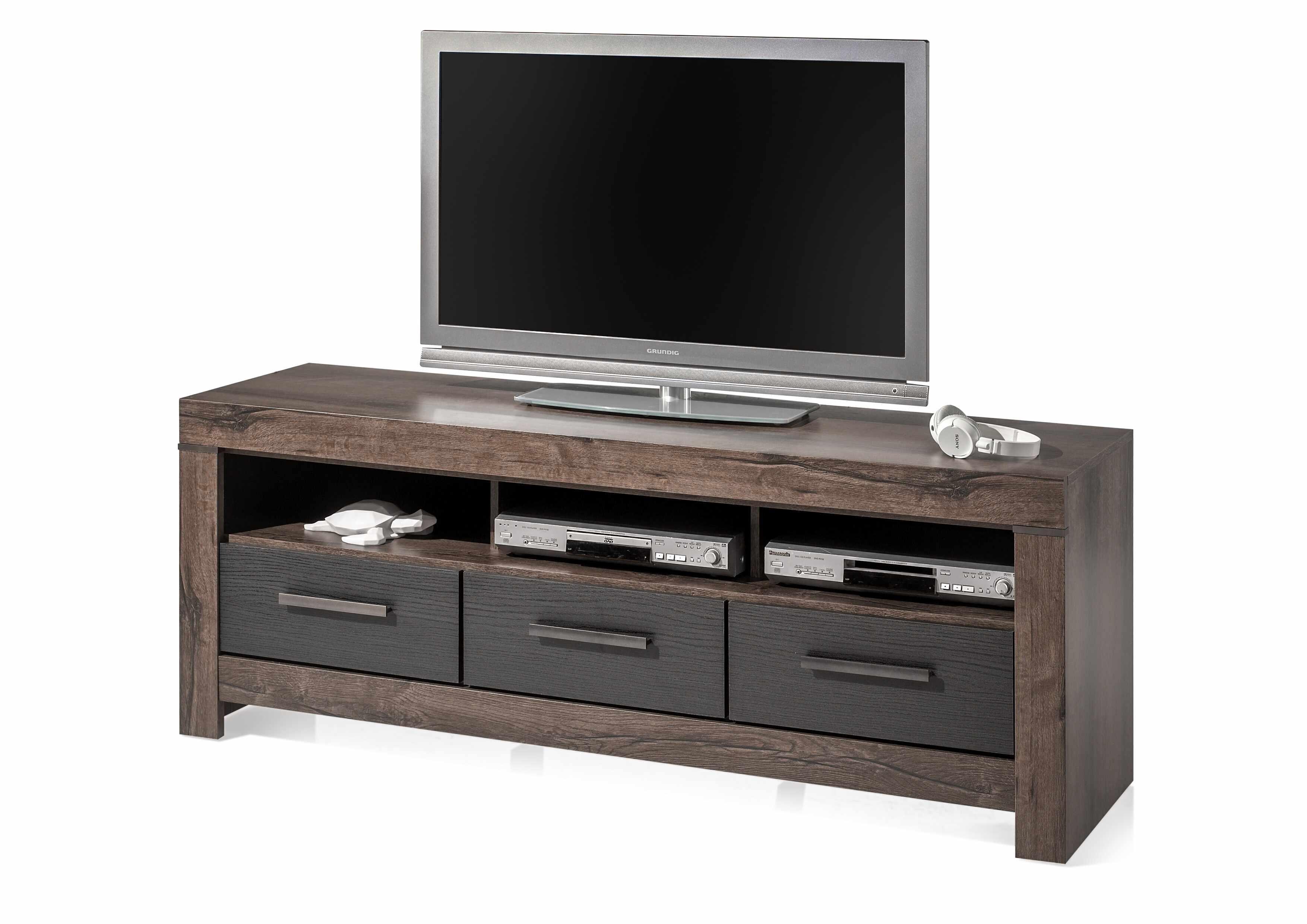 Comoda TV din pal, cu 3 sertare Blake Grafit / Stejar, l160xA45xH61 cm la pret 739 lei