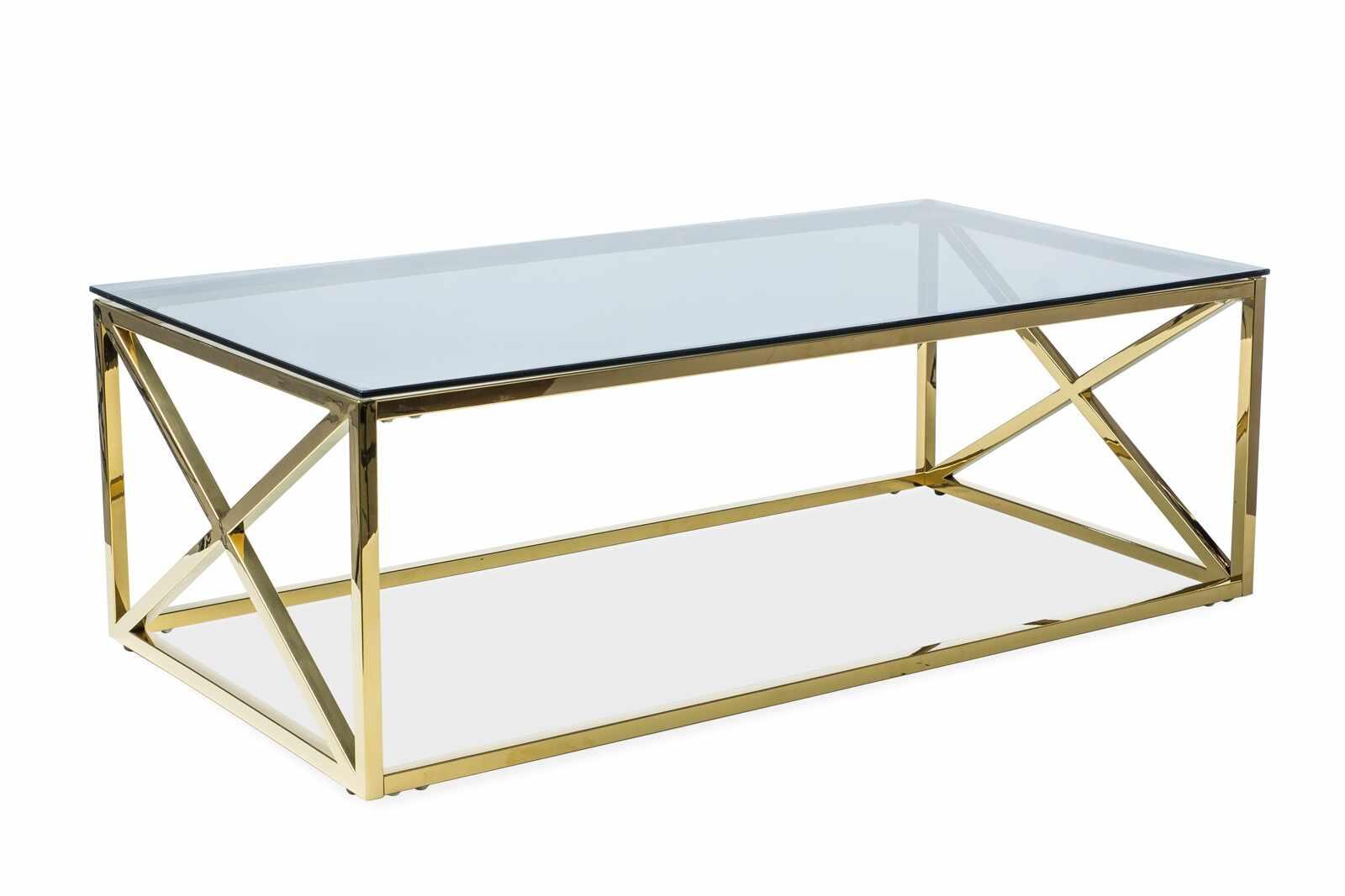 Masa de cafea din sticla si metal Elise A Transparent / Auriu, L120xl60xH40 cm la pret 851 lei