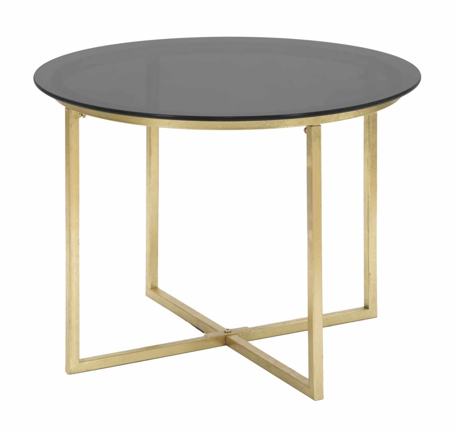 Masa de cafea din sticla si metal Glamy Negru / Auriu, Ø58xH43 cm la pret 611 lei
