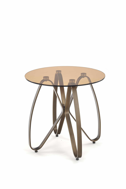 Masa de cafea din sticla si metal Lunga Brown / Antique Gold, Ø55xH54 cm la pret 595 lei