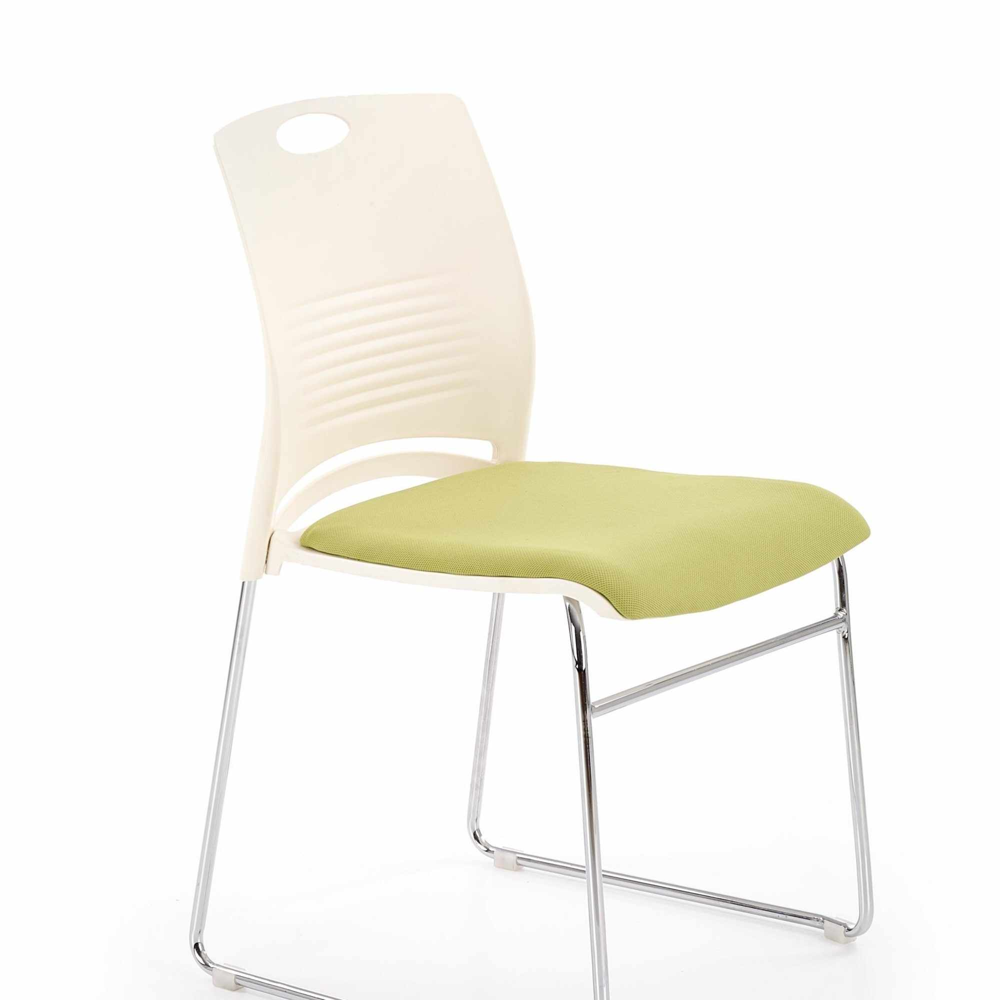 Scaun din plastic, cu sezut tapitat cu stofa si picioare metalice Calis Alb / Verde, l44xA52xH80 cm la pret 164 lei