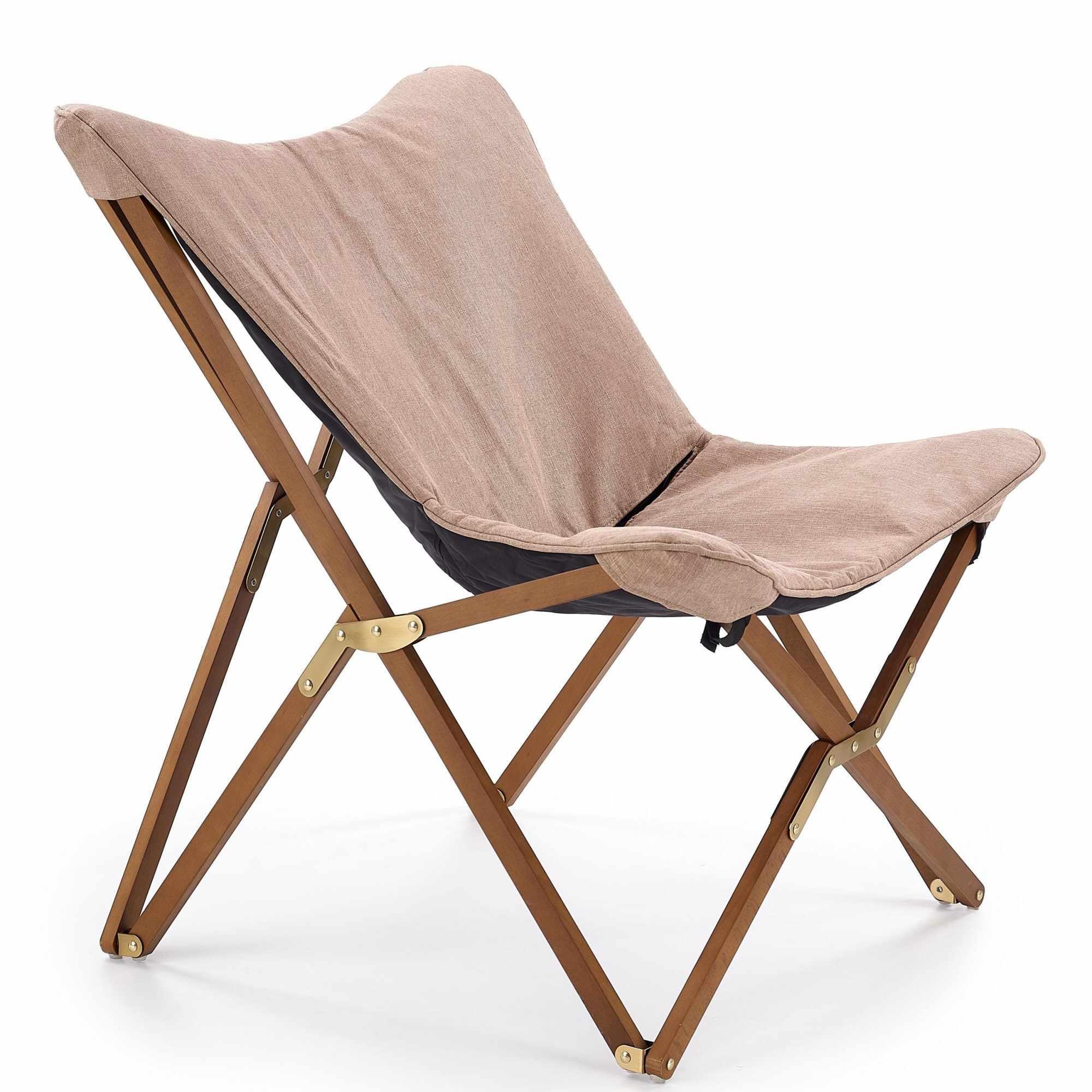 Scaun pliabil din lemn si stofa Volant Beige / Walnut, l76xA83xH97 cm la pret 383 lei