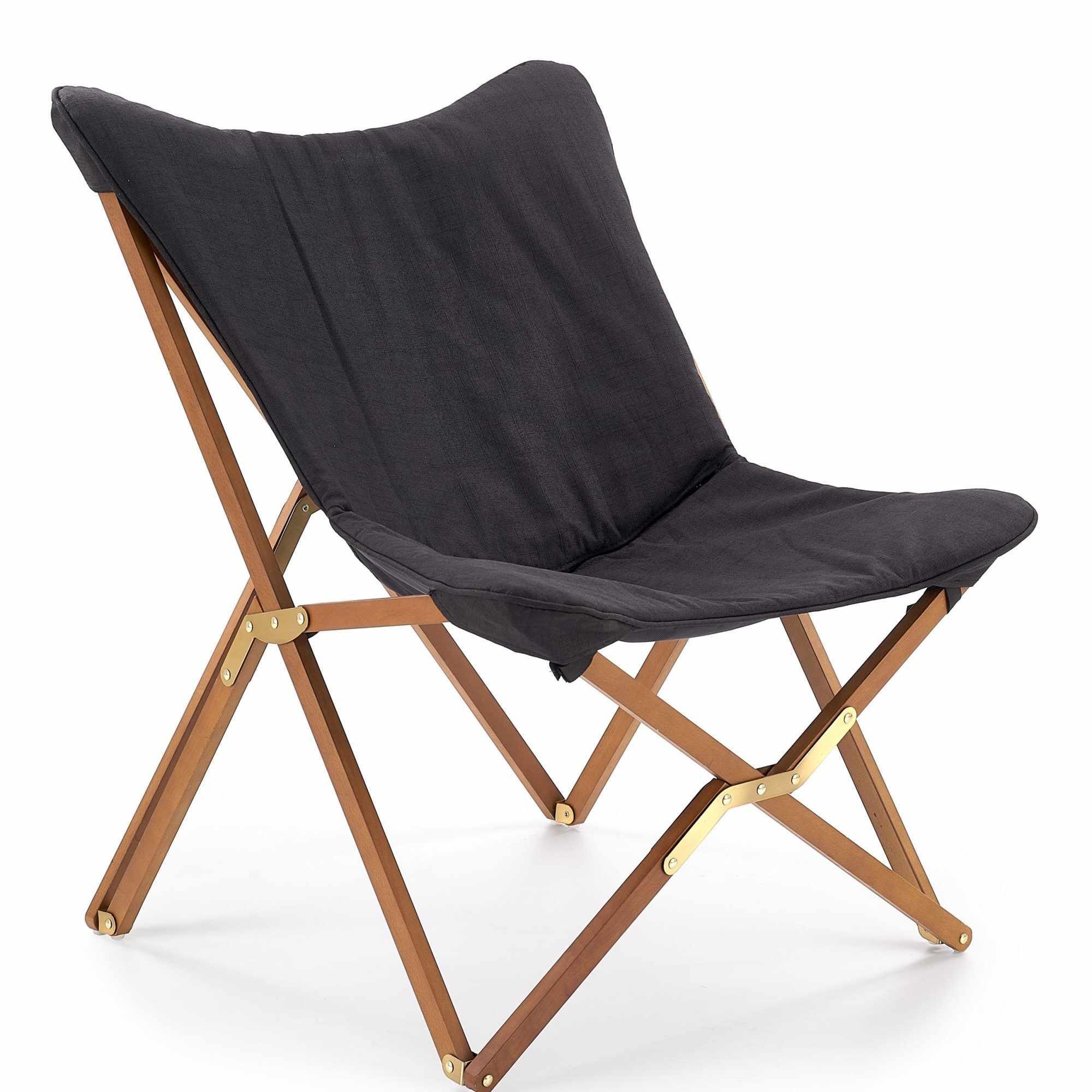 Scaun pliabil din lemn si stofa Volant Dark Grey / Walnut, l76xA83xH97 cm la pret 383 lei