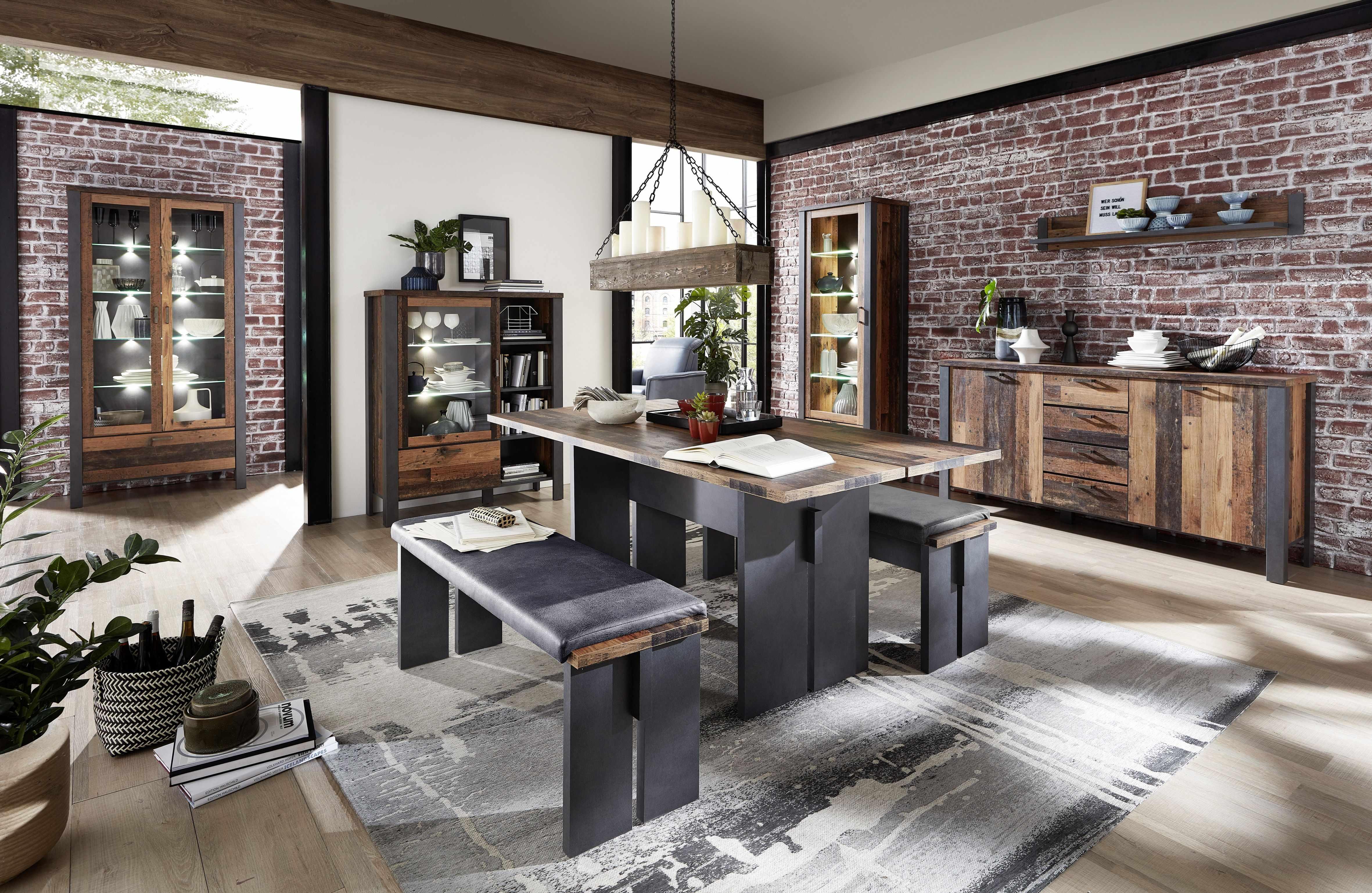 Set de mobila dining din pal, 8 piese Chelsea Natural / Grafit la pret 9219 lei