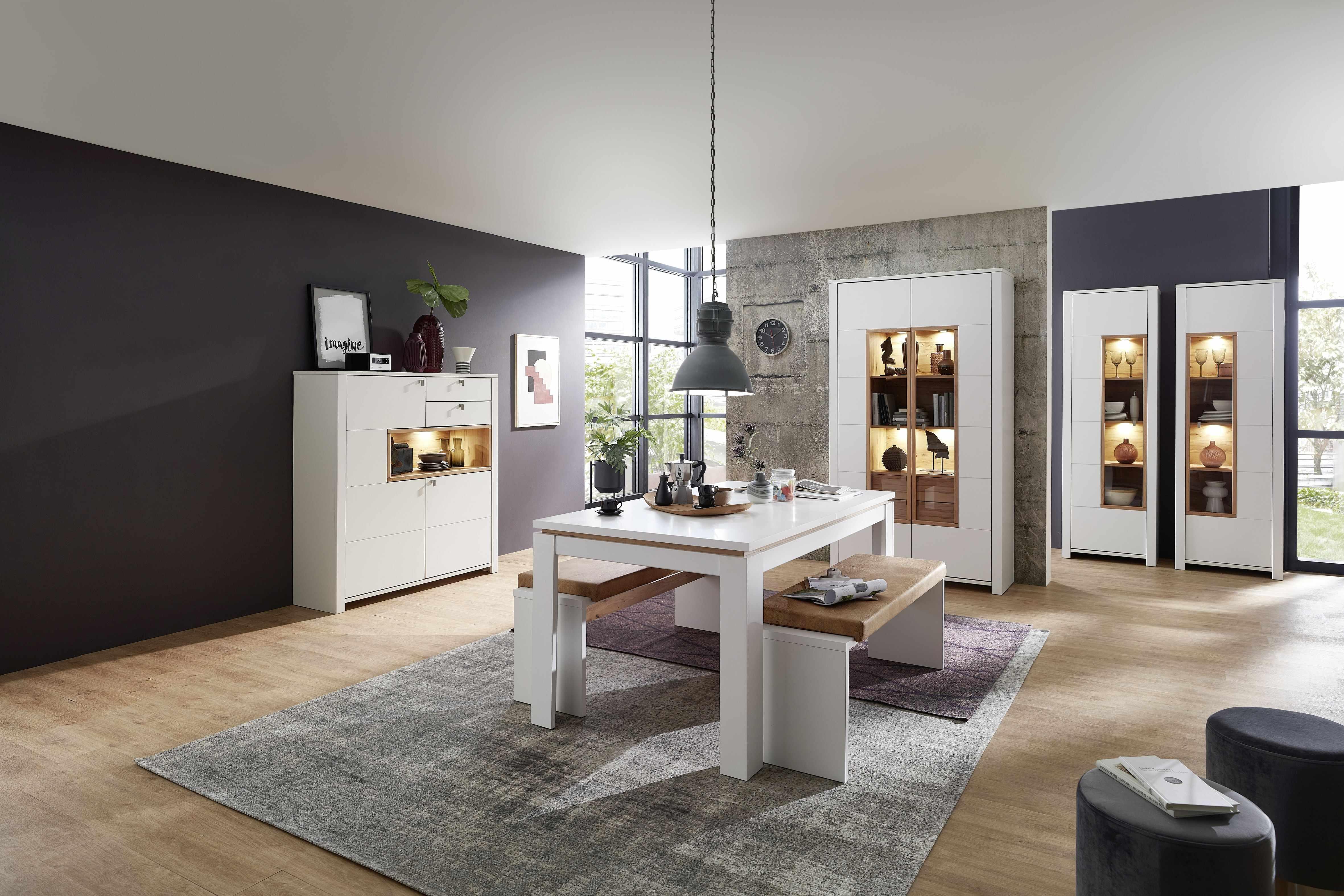 Set de mobila dining din pal si MDF, 7 piese Selina Alb / Natur la pret 10547 lei