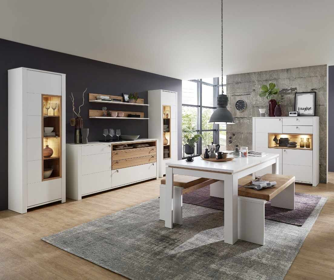 Set de mobila dining din pal si MDF, 9 piese Selina Alb / Natur la pret 10517 lei