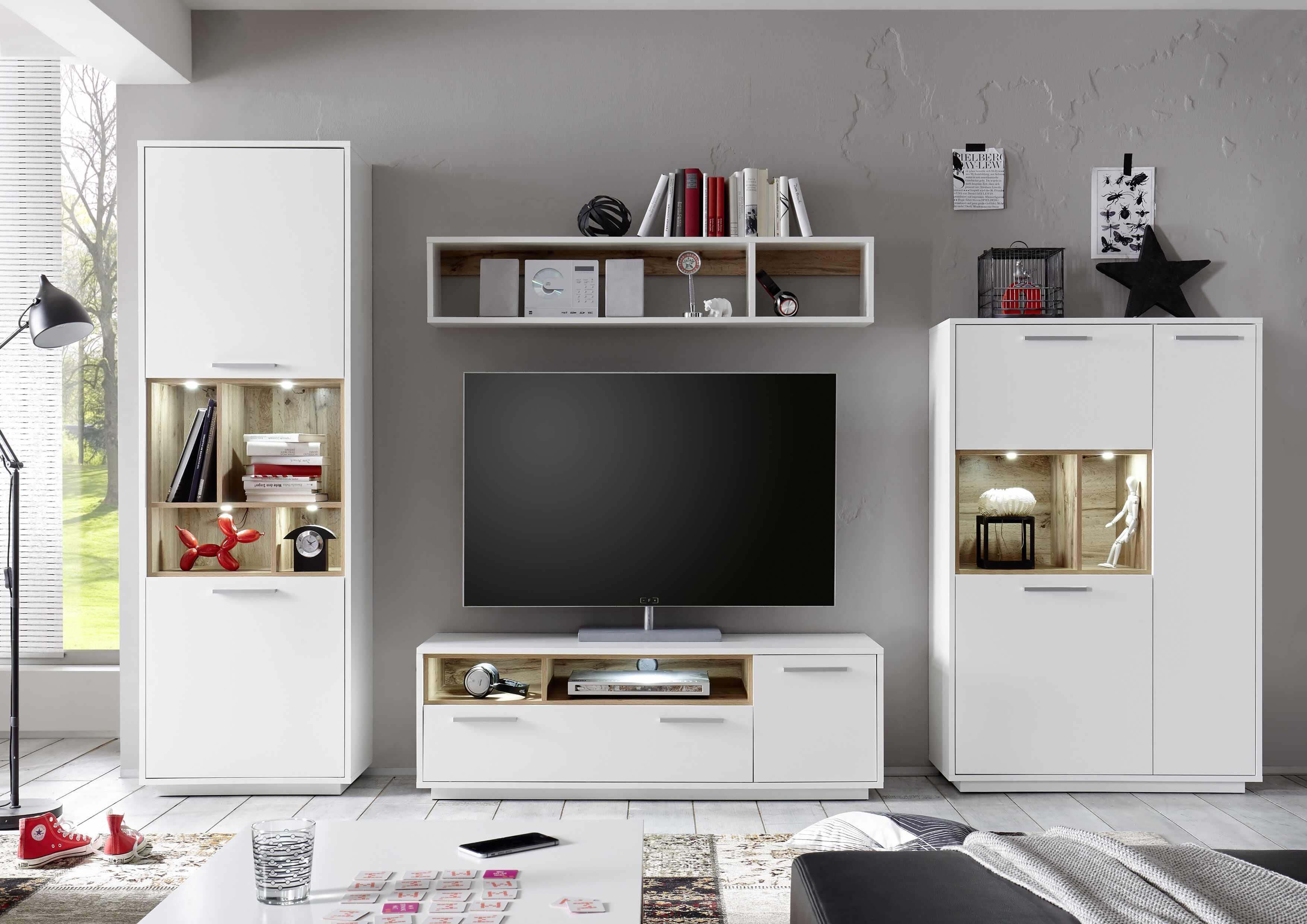 Set de mobila living din pal, 4 piese Millie Alb / Natur la pret 2171 lei