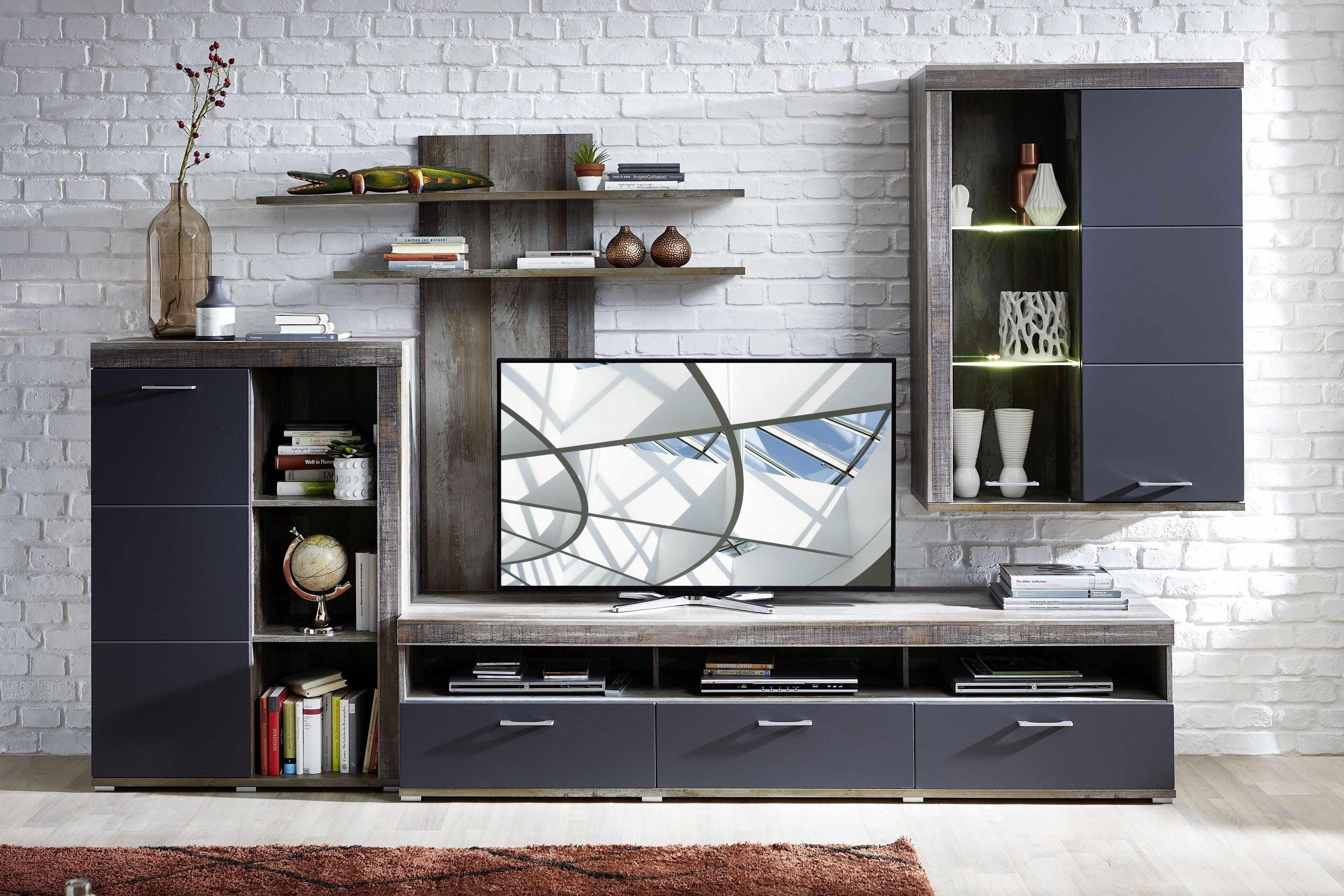 Set de mobila living din pal si MDF, 4 piese Krone I Grafit / Natur la pret 2727 lei