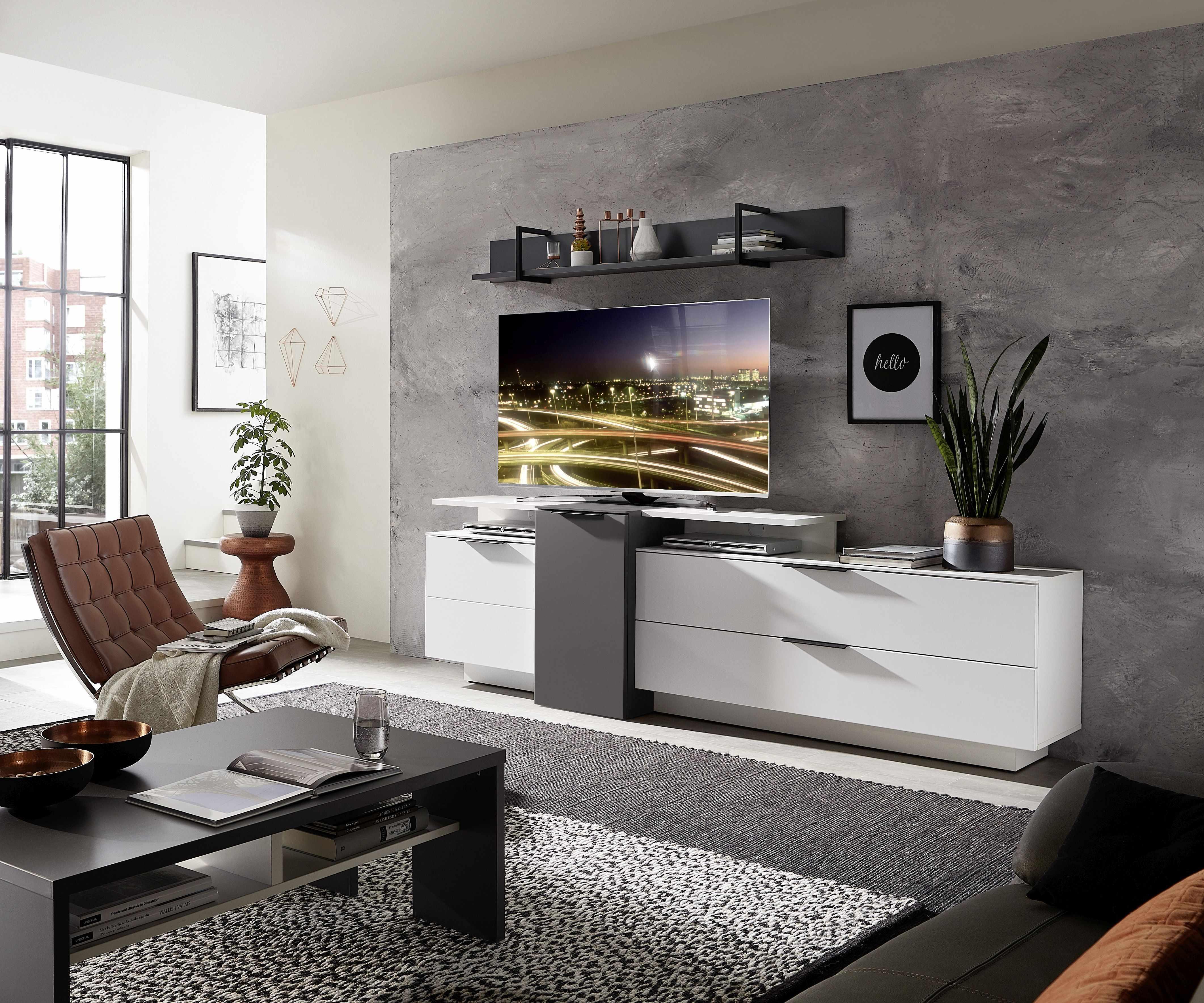 Set de mobila living din pal si MDF, 4 piese Madeline Alb / Grafit la pret 2757 lei