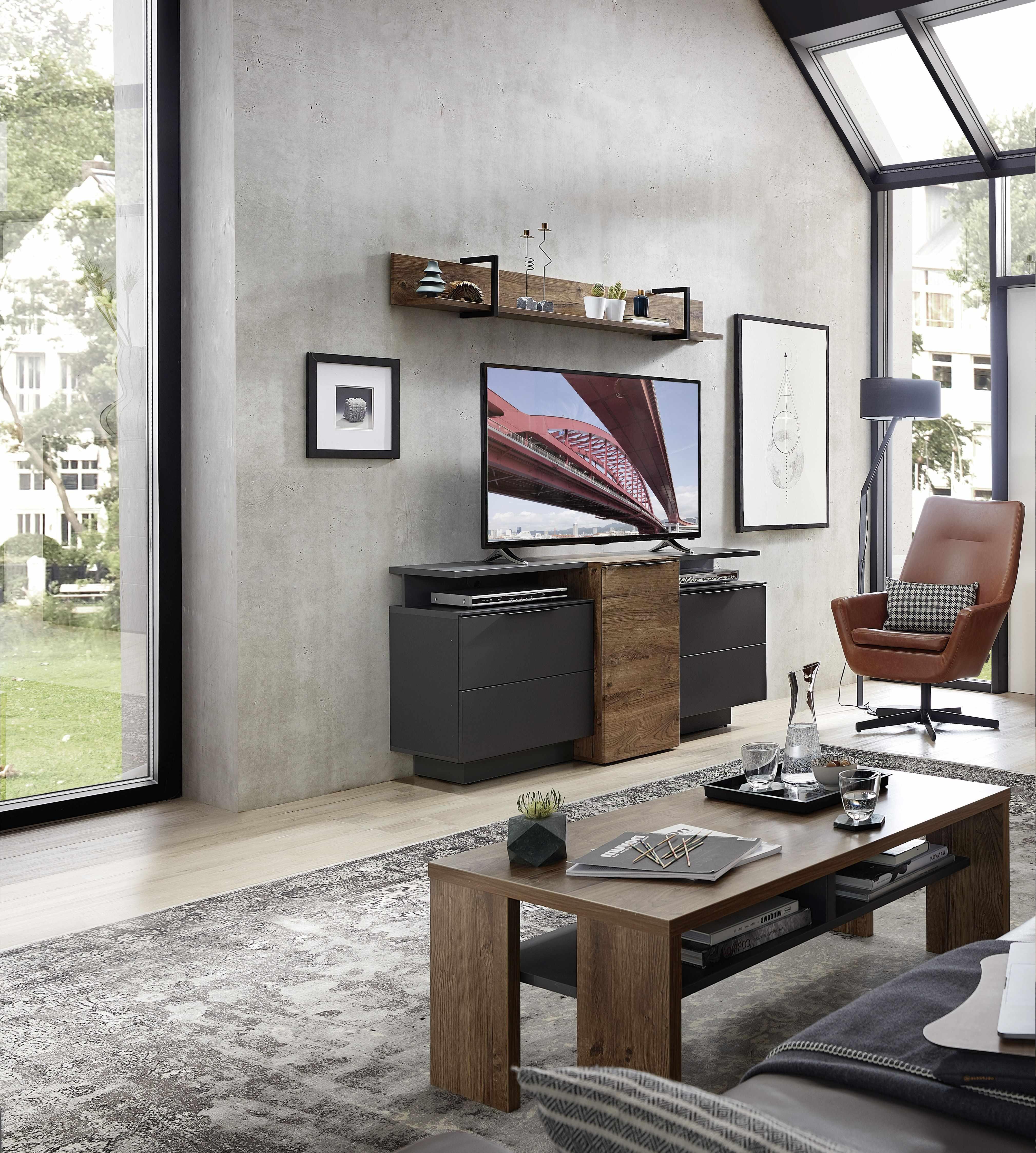 Set de mobila living din pal si MDF, 4 piese Madeline Havel Oak Cognac / Grafit la pret 2157 lei