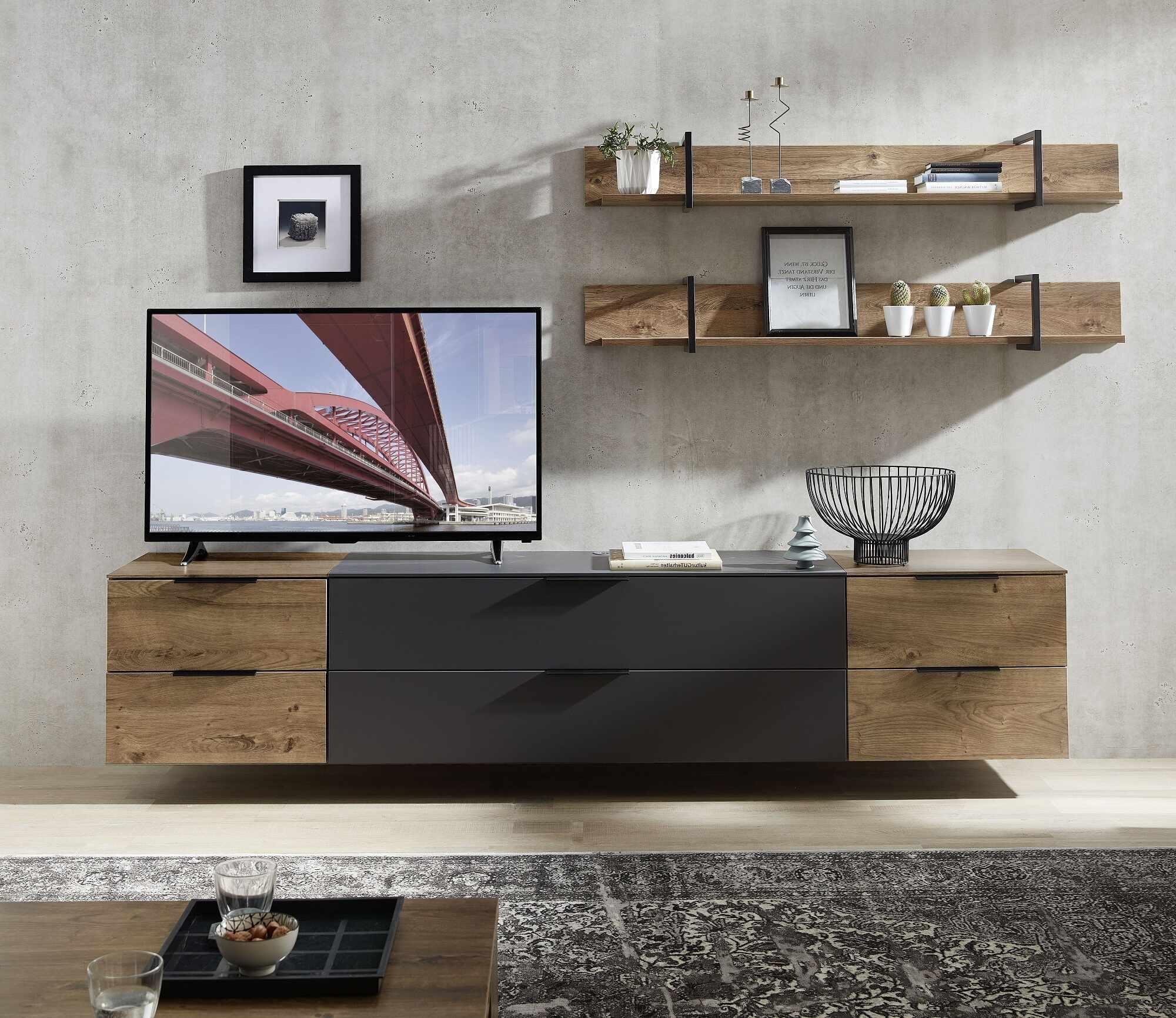 Set de mobila living din pal si MDF, 5 piese Madeline Large Havel Oak Cognac / Grafit la pret 3306 lei