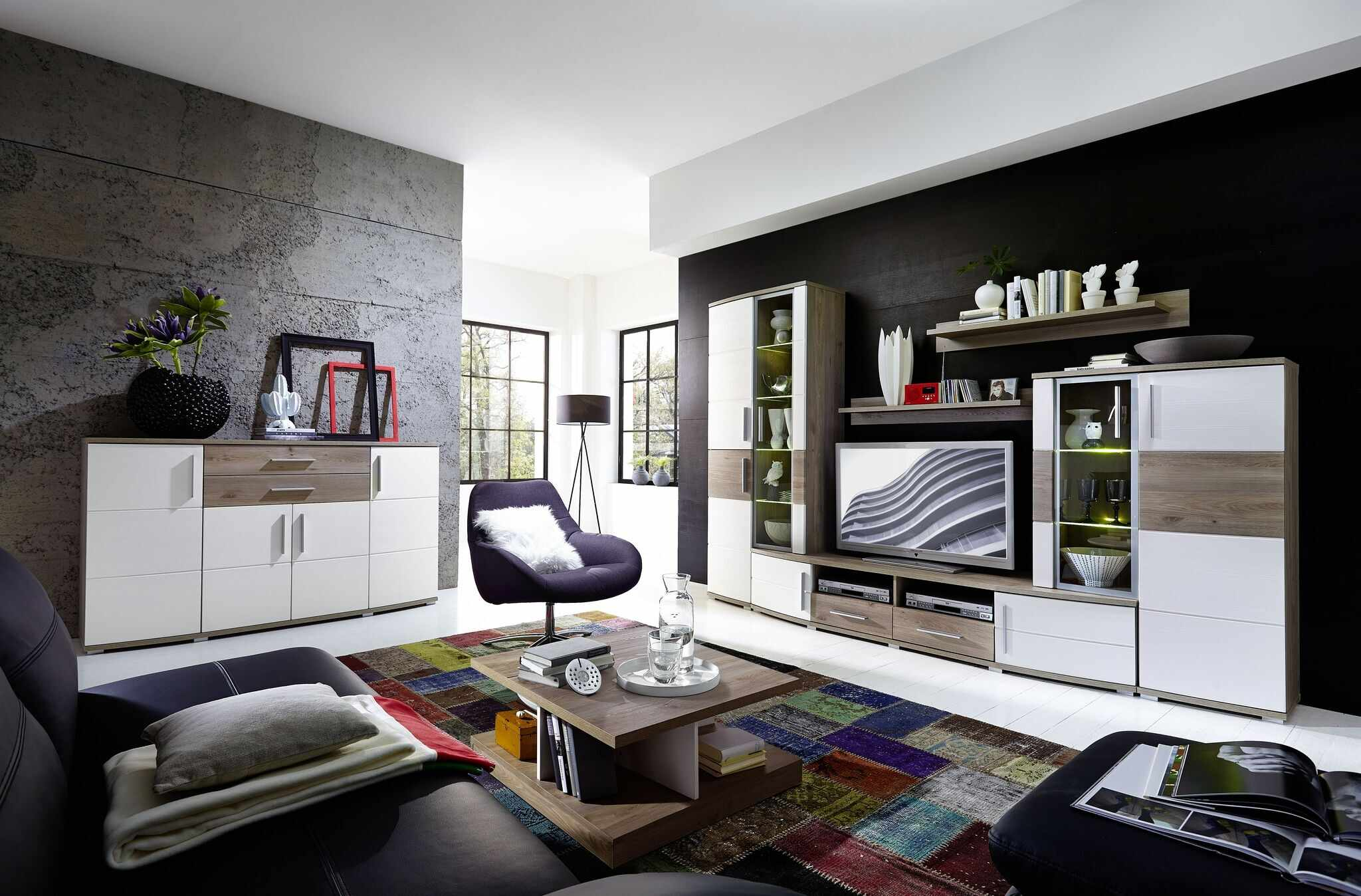 Set de mobila living din pal si MDF, 6 piese Jenise I Alb / Stejar la pret 5254 lei