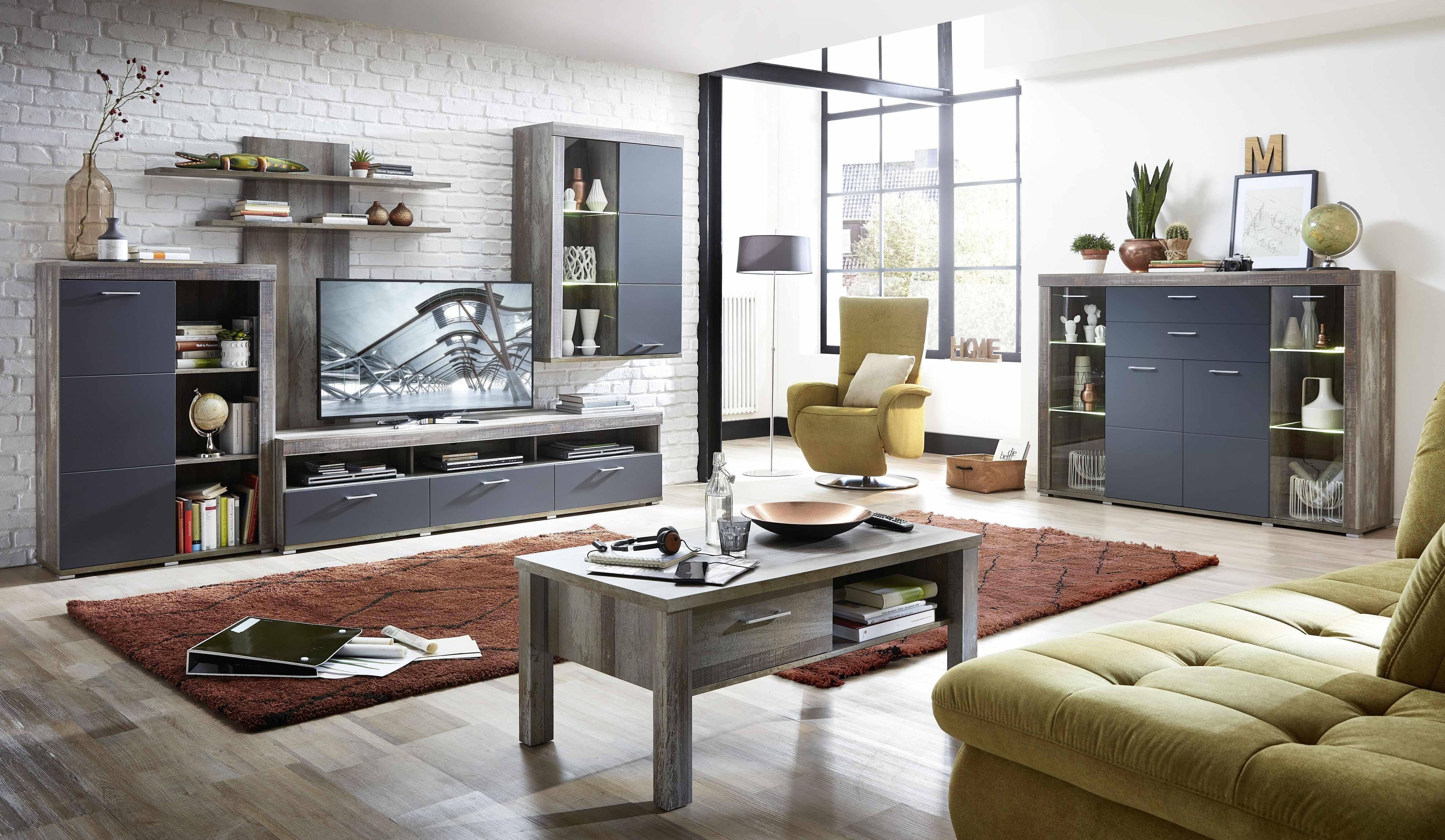 Set de mobila living din pal si MDF, 6 piese Krone I Grafit / Natur la pret 5334 lei