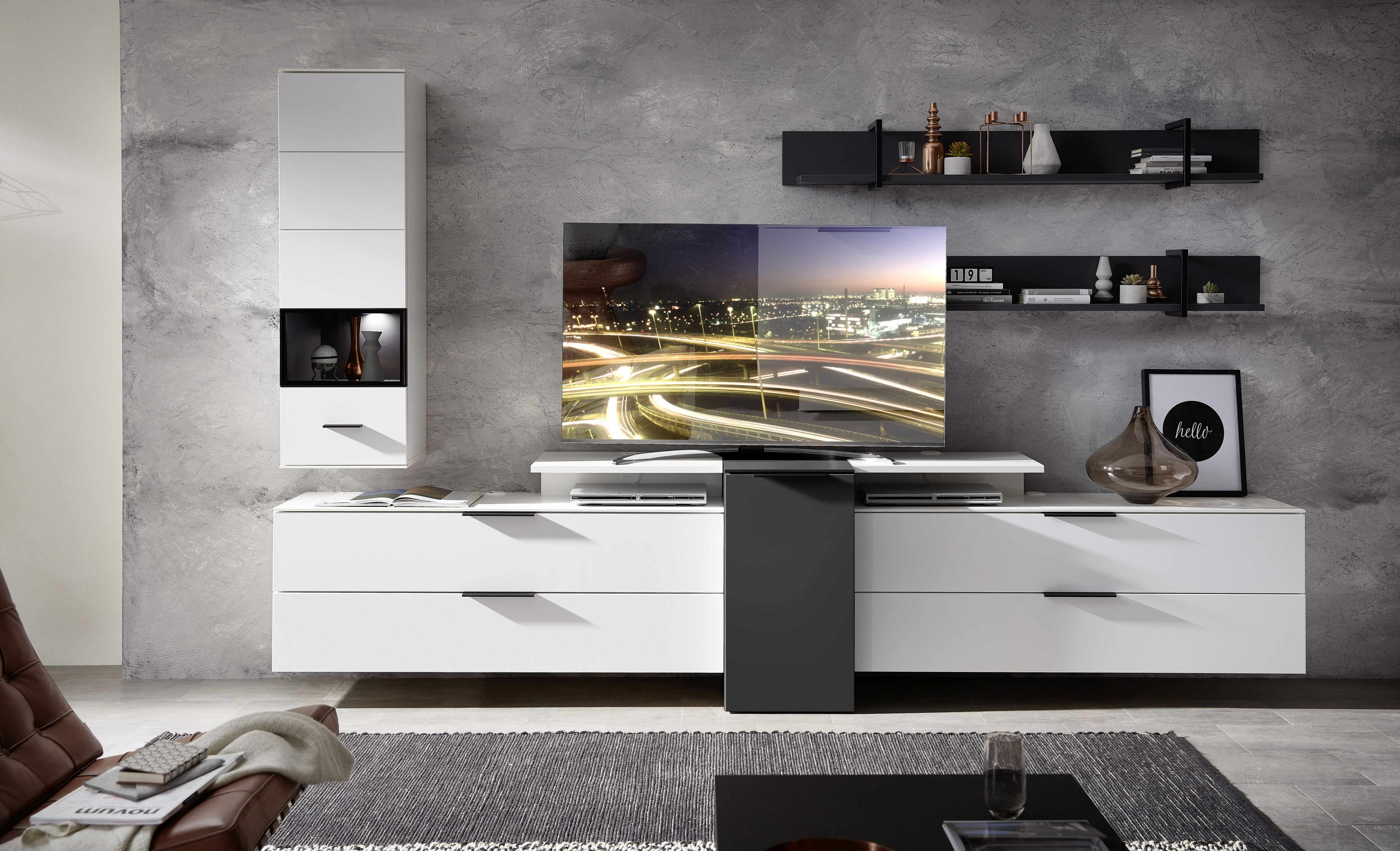 Set de mobila living din pal si MDF, 6 piese Madeline Alb / Grafit la pret 4495 lei