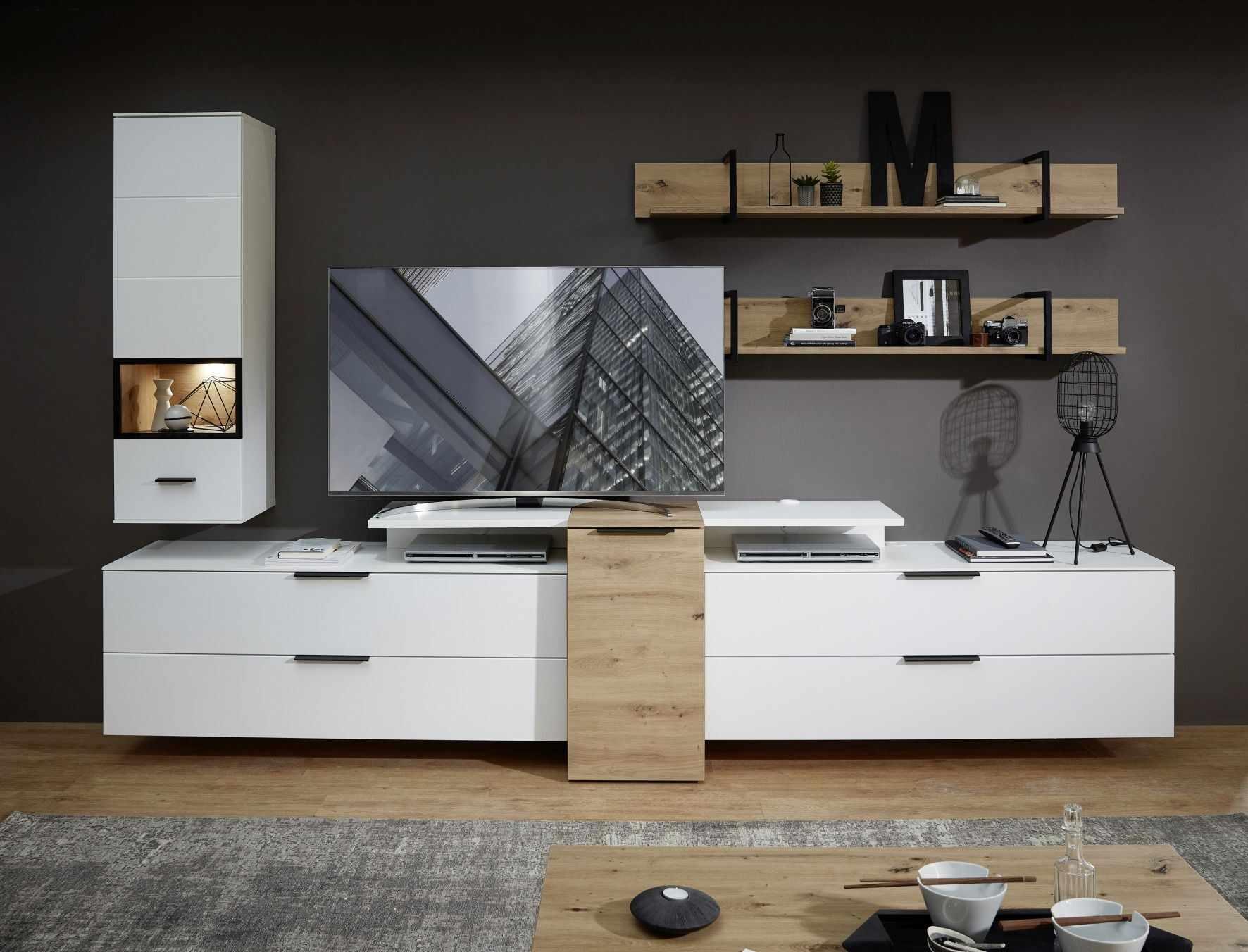 Set de mobila living din pal si MDF, 6 piese Madeline Alb / Stejar la pret 4495 lei